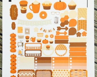 Pumpkin Spice Weekly Planner Stickers Set, for use with Erin Condren Life Planner, Happy Planner