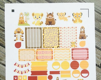 Lion Simba Weekly Planner Stickers Set, for use with Erin Condren Life Planner, Happy Planner