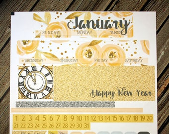 January Elegant Monthly Planner Layout Kit - Gold Peach Glitter - for use with Erin Condren - Happy Planner