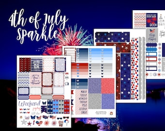4th of July Sparkle Weekly Planner Sticker Kit - for use with Erin Condren - Happy Planner - Independence Day Stickers - Red White Blue