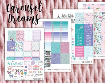 Carousel Dreams Weekly Planner Stickers Kit - for use with Erin Condren - Happy Planner - Amusement Park