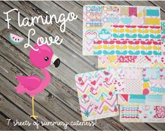 Flamingo Love Planner Sticker Kit - Colorful Sticker Kit - Summer Sticker Full Kit - Planner Stickers Full Kit