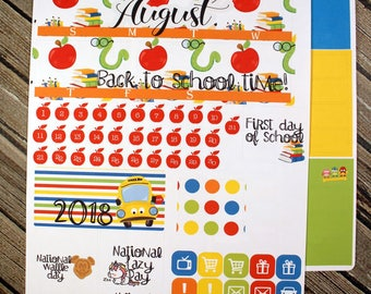 August Monthly View Kit - Back to School Month - Month Planner Full Kit - Month Layout