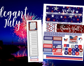 July Elegant Monthly Planner Kit - for use with Erin Condren - Happy Planner - 4th of July - Fireworks Kit