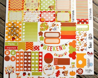 Fall Friends Weekly Planner Stickers Set - for use with Erin Condren Life Planner - Happy Planner - Woodland Fox Bear Stickers