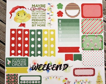 Whoville Weekly Planner Sampler Sheet - for use with Erin Condren - Happy Planner - Grinch Christmas - Holiday Planner Stickers