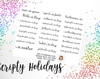 Script Holidays Functional Planner Stickers - for use with Erin Condren - Happy Planners - Yearly Planner Stickers