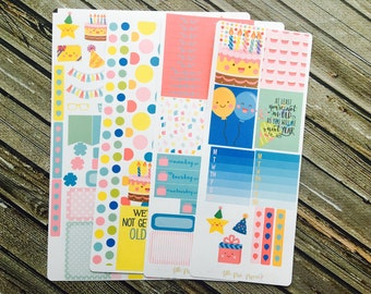 Birthday Planner Sticker Kit - Kawaii Stickers - Pastel Stickers - for use with  Erin Condren - Happy Planner