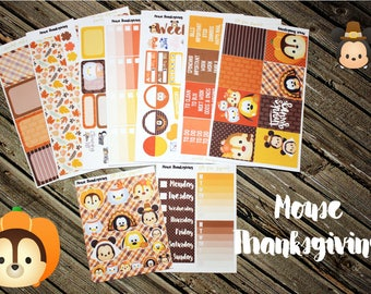 Mouse Thanksgiving Weekly Planner Stickers Set - For Use with Erin Condren - Happy Planner - Fall Planner Stickers
