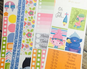 Troll Weekly Planner Stickers Full Kit, for use with Erin Condren Life Planner, Happy Planner