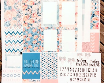 Floral Emerald Weekly Planner Stickers Kit - Floral Planner Stickers - For use with Erin Condren - Happy Planner - Mint Coral Teal