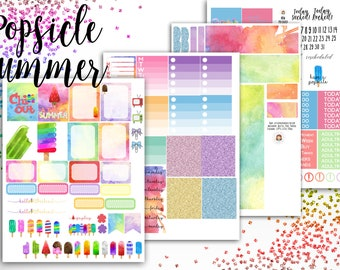 Popsicle Summer Weekly Planner Kit - for use with Erin Condren - Happy Planner - Summer Planner Sticker Kit - Watercolor Kit