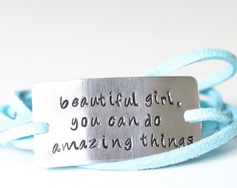 beautiful girl, inspirational bracelet, self esteem, daughter gift, graduation gift,  do amazing things, gifts for her, motivate