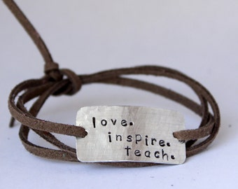 "teacher's bracelet, teachers gift, ""love. inspire. teach."", christmas gift, teacher appreciation, gift for teacher"