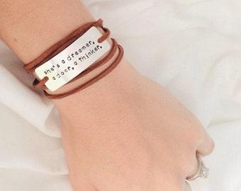 quote bracelet, shes a dreamer, a doer, a thinker, custom bracelet, birthday gift,  inspirational jewelry, christmas gift, wrap bracelet