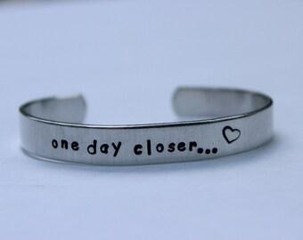 "deployment bracelet, hand stamped, ""one day closer"", military wife, military girlfriend, deployment jewelry, military jewelry"