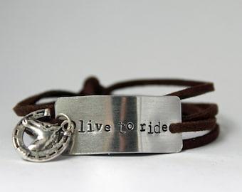 "horse lover bracelet, ""live to ride"", gift for horse lover, horse lover gift, equestrian jewelry, equestrian girl, cowgirl, horse jewelry"