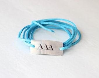 sorority bracelet, delta delta delta jewelry, sorority gift, sorority jewelry, big little gift, sorority letters, big little bracelet, delta