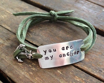 """Quote bracelet w/ charm, """"you are my anchor"""" anchor charm, hand stamped wrap bracelet, faux suede, anniversary gift"""