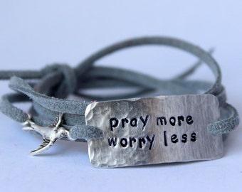 "inspirational quote bracelet with bird charm, ""pray more worry less"", wrap bracelet, faux suede bracelet"