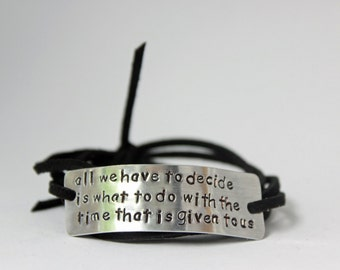 hand stamped quote bracelet, christmas gift, inspirational jewelry, graduation gift, handstamped wrap bracelet,