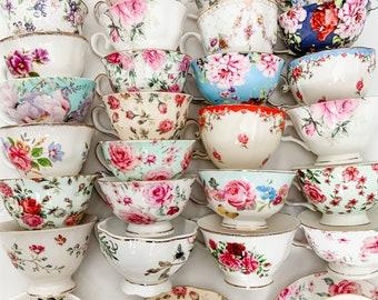 IMPERFECT Bulk Tea cups & Saucers with Minor Imperfections | Mismatched Teacups Tea Party | Discount Tea Cups | Cheap Tea Cups | Teacup Lot