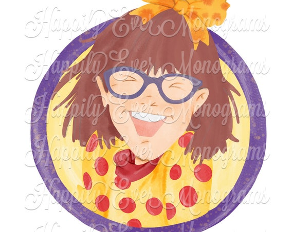 Watercolor Junie B. Jones - Book Character - Digital Artwork PNG