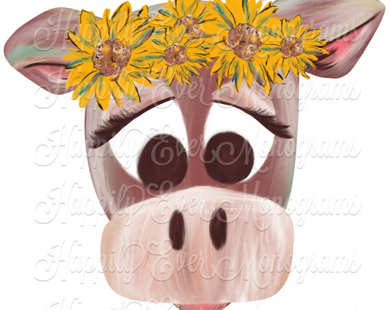 Watercolor Cow with Sunflower Crown Digital Artwork PNG