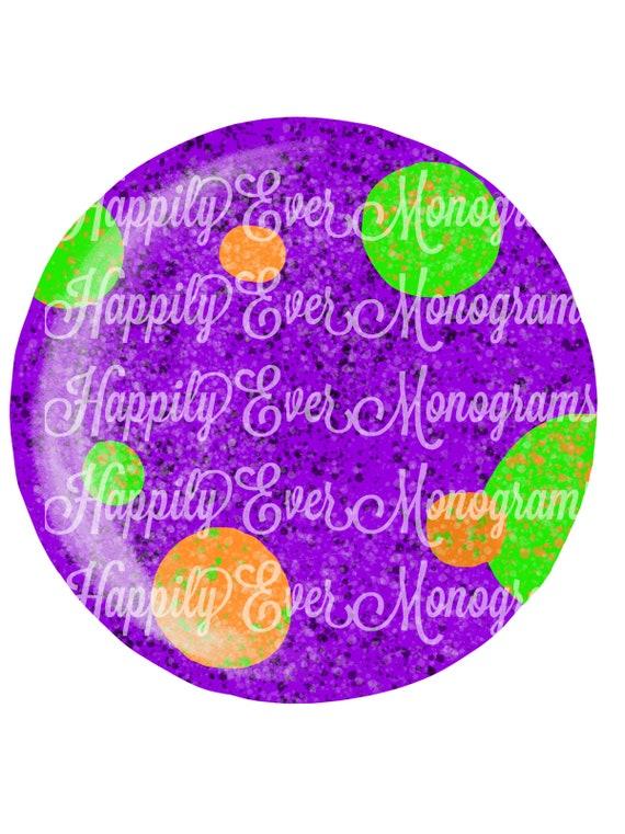 Halloween Polka Dot Purple Circle Frame Digital Artwork PNG