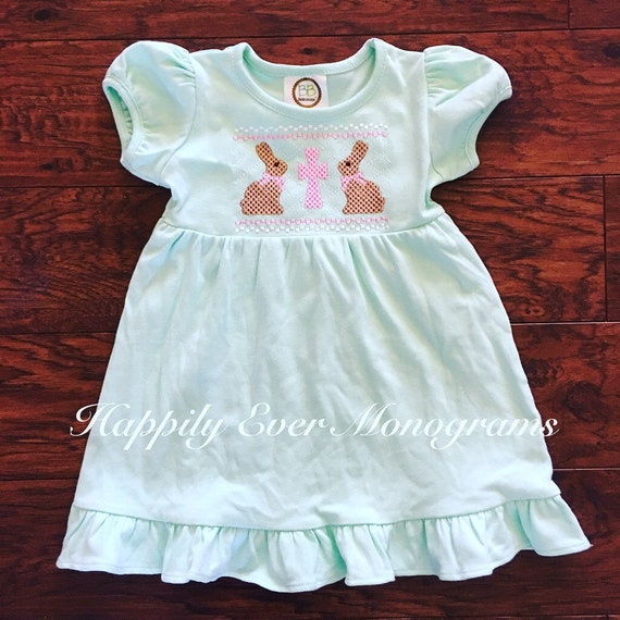 Girls Faux Smocked Easter Bunny Shirt
