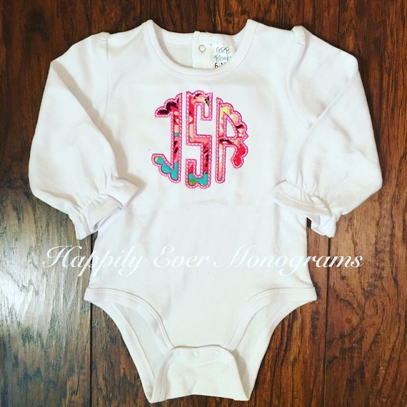 Scalloped Applique Monogrammed Onesie