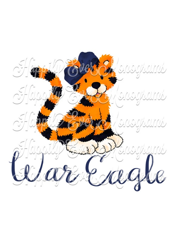 Watercolor Aubie the Tiger Digital Artwork PNG