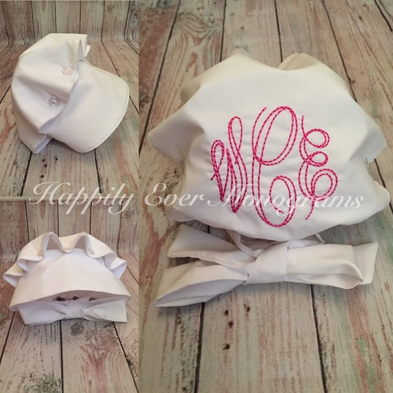 White Bonnet with Monogram