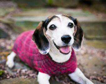 Custom Dog Sweater Handmade Cat Sweater Rib Knit Superwash Merino Wool Made in USA Granville Red Gray Pink