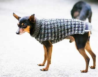 Handknit Dog Sweater Handmade Cat Sweater Cables Superwash Merino Wool Made in USA Pullman Gray Black Silver  Size Small SHIPS NOWS