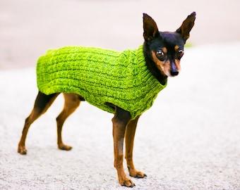 Custom Dog Sweater Handmade Cat Sweater Cable Superwash Merino Wool Made in USA Basil Green Yellow