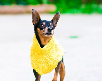 Handknit Dog Sweater Handmade Cat Sweater Cables Superwash Merino Wool Made in USA Lemon Curd Yellow Size Small SHIPS NOWS