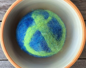 Fetch3.0!  Alpaca and Wool Fiber Dog Toy Ball in Planet Earth Swirl