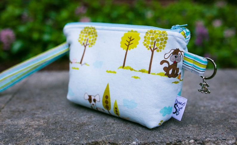 Custom Pooch Pouch Leash BagWristlet in Puppy Park in Deco Flamingo