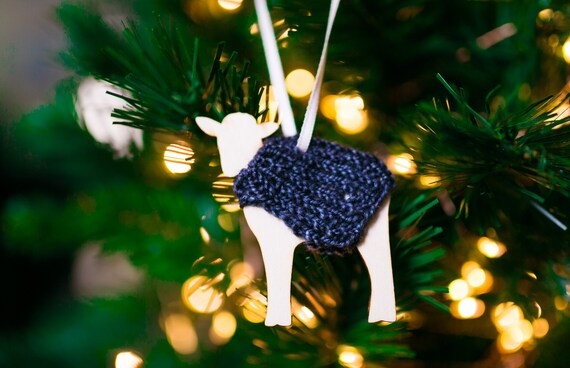Hang or Stand Goat Holiday Decoration in Hush Handknit Sweater