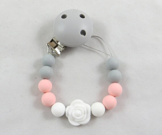 Girls flower pink Wood clip Soothie pacifier holder clip personalized avent gift