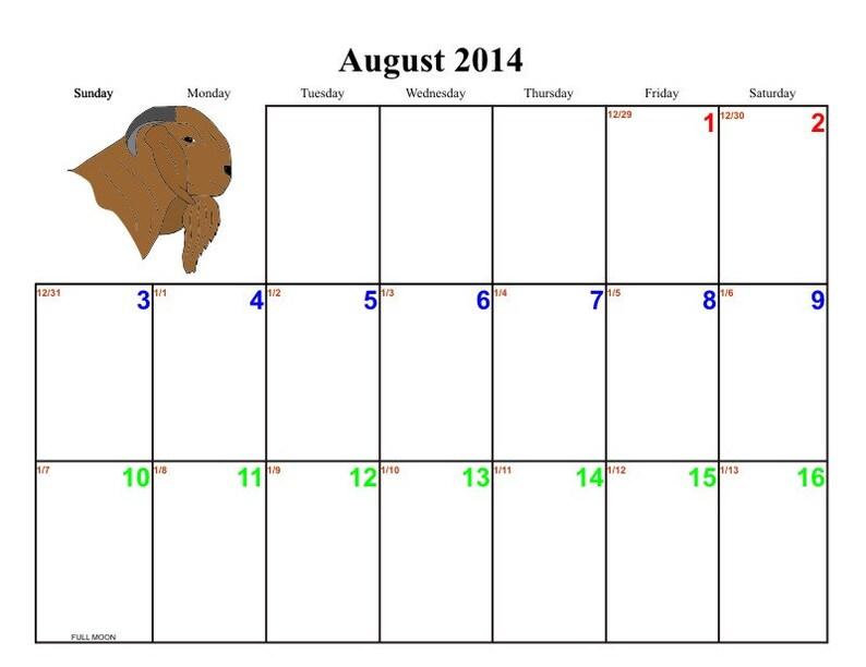 BOER - Goat Breeding and Records Calendar July-June