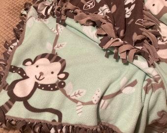 Fleece Tie Blanket/Throw - Mint/Brown Monkeys & Leaves