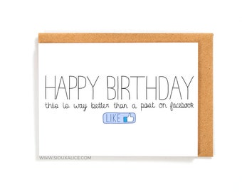 Funny Birthday Card Facebook Greetings Friend Brother Sister Mum Mother Dad Happy Celebration Getting Old Cards