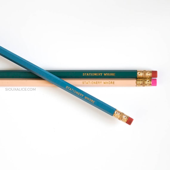 Funny Pencil Set Of 3 Stationery Whore Back To School Quote Etsy
