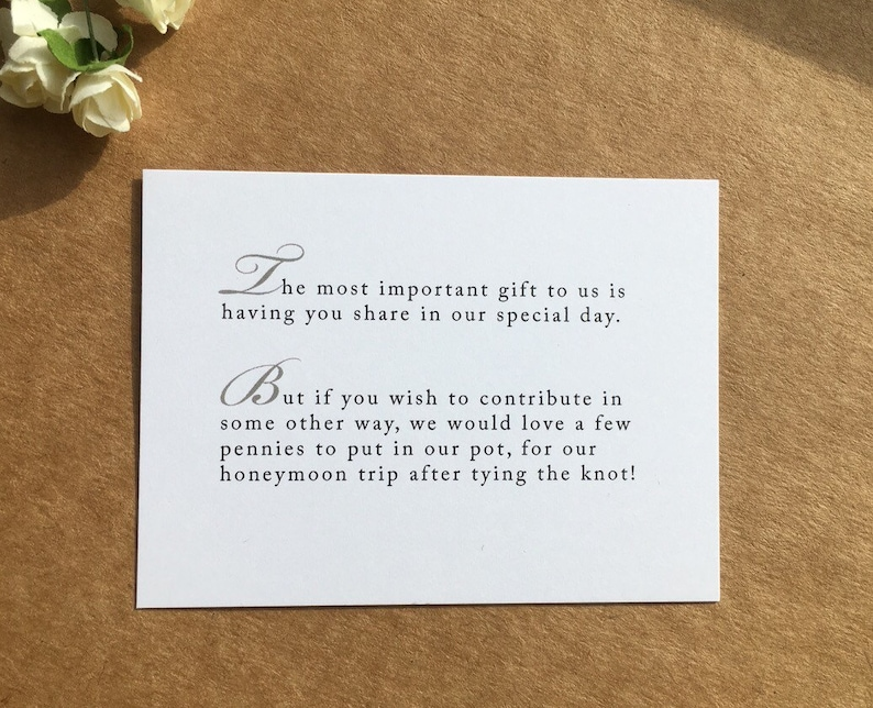 Wedding Invitation Gift Wording For Money: Wedding Invitation Poem For Money Honeymoon Poem Card Gift