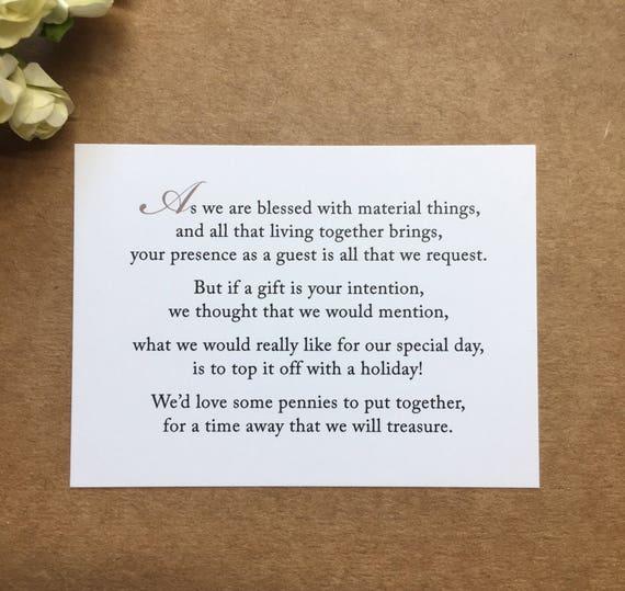 Wedding Gift Poems Honeymoon: Wedding Invitation Poem For Money Honeymoon Poem Card Gift
