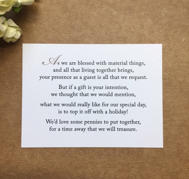 Money As Wedding Gift Poem: Wedding Invitation Poem For Money Honeymoon Poem Card Gift