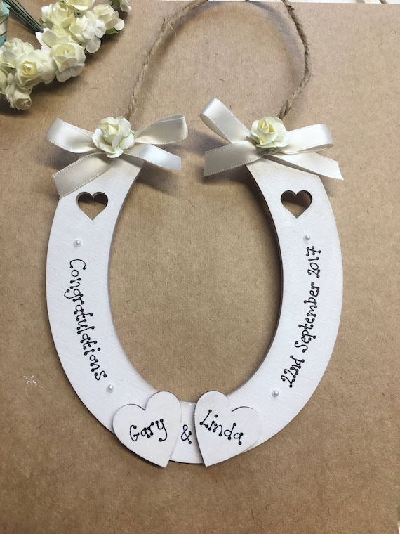 Vintage Rose Wedding Horseshoe Personalised Bridal Gifts Good Luck Lucky Present