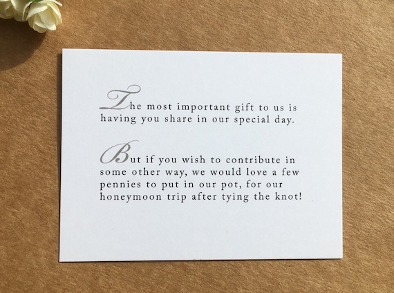Wedding Poem Asking For Money Instead Of Gifts: Wedding Invitation Poem For Money Honeymoon Poem Card Gift